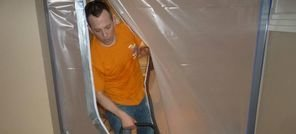 Water Damage Shorewood Technician Using Air Mover Near Vapor Barrier